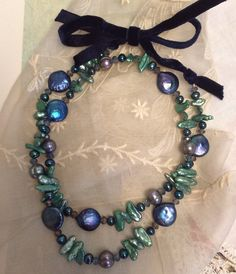 Beaded necklace freshwater pearls blue green grey by TobysArtwear