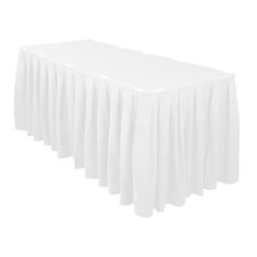 Accordion Pleat Polyester Table Skirt White