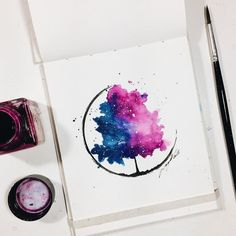 Imagen de art, draw, and drawings drawing and painting water Galaxy Painting Acrylic, Watercolor Galaxy, Sketch Painting, Watercolor Drawing, Abstract Watercolor Art, Painting Art, Watercolor Paintings, Art Drawings Sketches, Cool Drawings