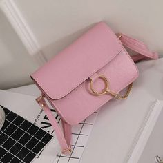 Girls Pink Ring China Flap Closure Faux Leather Shoulder Bag Purse Crossbody Bag #Unbranded #ShoulderBag