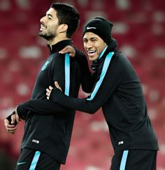 Luis Suarez and Neymar during training at Emirates Stadium, London, England - 22/02/2016