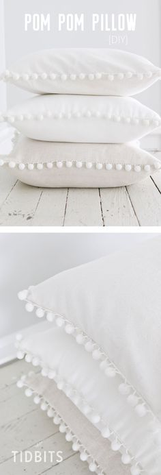 DIY Pom Pom Pillow - fun and easy sewing project! #DIY #pillow #whitepillow #homedecor #DIYpillowcase