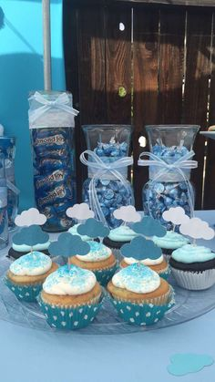 Heaven sent baby shower theme for twins cupcakes