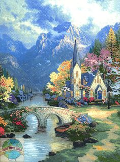 Mountain Chapel cross stitch. Original painting by Thomas Kincaid R.I.P