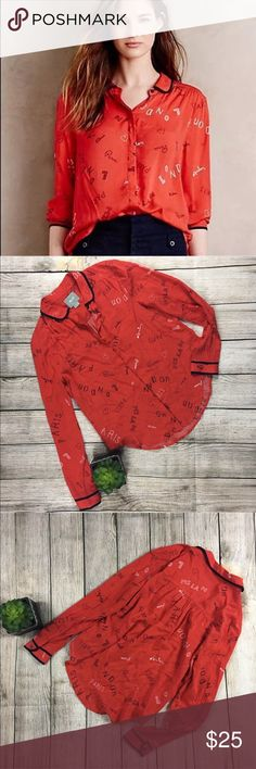 """Maeve Red Blouse Anthro 0 XS Text Print Graphic Maeve Red Blouse from Anthropologie w/Paris, Milan & London Graphic Text sz 0  Size: 0 Color: Red w/ White & Navy Blue Text/Trim Long Sleeve  100% Rayon Rounded Collar Bust: 17'"""" Length: 21'' Sleeve: 22"""" Condition: Gently worn pre owned condition. No defects noted. Anthropologie Tops Blouses"""