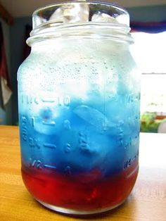 I need to make this for our 4th: cranberry juice, blue Gatorade and sprite! Easy way to be festive :)