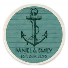 Anchor Personalized Wedding Stone Coasters, great Wedding Gifts, Wedding Favors, Nautical Favors