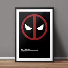 Deadpool Poster, Comic Poster, Movie Poster, Minimalist Poster, Flat Poster Design, Clean Poster Design, Digital Printable Poster