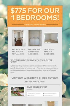 Help spread the word about $775 for our 1 bedrooms!. Please share! :)