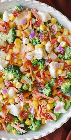 Creamy Broccoli Cauliflower Corn Bacon Salad with Sliced Carrots Diced Red Onions and shredded Sharp Cheddar Cheese. Cold Vegetable Salads, Vegetable Salad Recipes, Pasta Salad Recipes, Healthy Salad Recipes, Salad Dishes, Recipe Pasta, Bacon Salad, Cauliflower Recipes, Broccoli Cauliflower Salad
