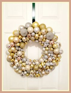 Silver and Gold Ornament Wreath; Holiday Decor; Christmas Wreath; Ornament Wreath; Silver and Gold Wreath; Christmas Decor; Ornaments; Gifts; Gift for Her. #ornamentwreath #wreaths #christmas #holidaydecor #christmaswreath #silverandgold