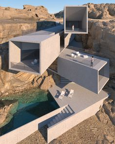 House on a rocky shore designed by Amey Kandalgaonkar Water Architecture, Modern Architecture House, Futuristic Architecture, Modern House Design, Amazing Architecture, Dynamic Architecture, Natural Architecture, Creative Architecture, Luxury Homes Dream Houses