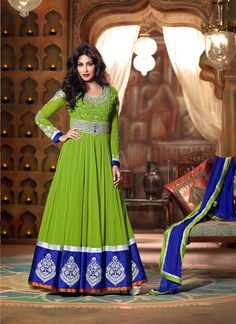 Blue And Green Colored Admirable Georgette Designer Embroidered Anarkai Suit
