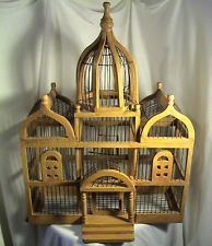 Large Vintage Dome Topped Taj Mahal Mosque Style Wood & Wire Bird Cage (116)