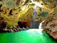 Pindul Cave, at pacitan yogyakarta. Feel the sensation of an adventure in the river inside a cave using a lifebelt