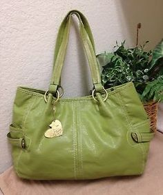 Relic Green Pebble Faux Leather Tote Shopper Shoulder Handbag Bag Heart Fob  Lg 19d6550ffb71b