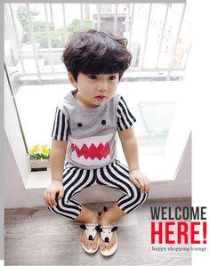 Debii Kids Set: Short-Sleeve Stripe T-Shirt + Stripe Pants | YESSTYLE