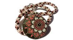 Pink Brown & White Kumihimo Necklace by KateKCreations on Etsy