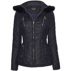 James Lakeland Hooded Quilted Jacket (1.795 ARS) ❤ liked on Polyvore featuring outerwear, jackets, navy, zip jacket, fur trim hooded jacket, navy blue short jacket, hooded zip jacket and collar jacket