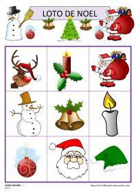 Jeu de loto de Noël Deux jeux de loto avec 15 ou 30 images sur le thème de Noël (Père Noël, sapin, cloches, bonbons, cadeaux, traîneau, guirlandes, flocons de neige...).