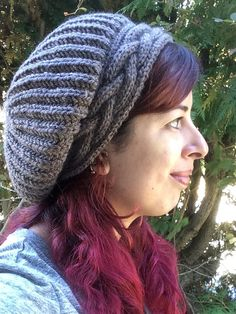 Cable Brim Slouch Hat Knitting Pattern Instant Download