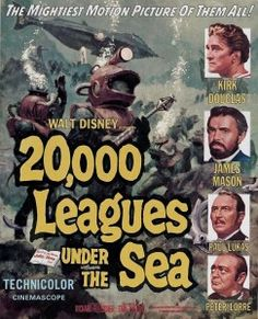 """Leagues Under the Sea"""" directed by Richard Fleischer and produced by Walt Disney. The first science fiction film shot in CinemaScope. Starring Kirk Douglas and James Mason as Captain Nemo. Jules Verne, Kirk Douglas, Classic Movie Posters, Classic Movies, Action Movies, Sci Fi Movies, Fantasy Movies, Indie Movies, Comedy Movies"""