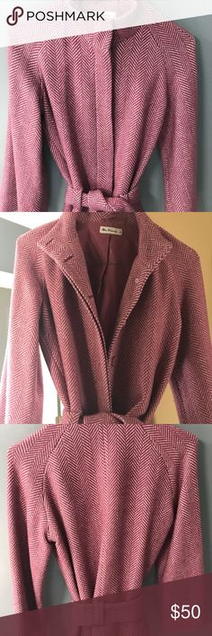 Ben Sherman jacket with bell sleeves Pink herringbone jacket with tie sash around waist, buttons that are hidden and bell sleeves. Ben Sherman Jackets & Coats Blazers