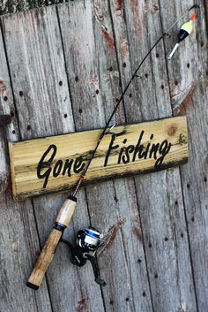 "Rustic reclaimed cedar sign. ""Gone Fishing"""