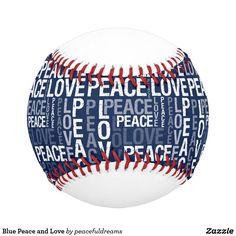 Blue Peace and Love Baseball