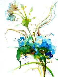 Watercolor Painting Abstract Floral Original Art - Modern Home Decor - Contemporary Botanical Illustration