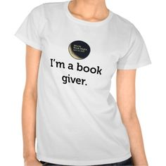 """I'm a book giver"" with logo, one-sided Shirt Cool Kids Clothes, Kinds Of Clothes, Slogan Tshirt, Tee Shirts, Baby Bump Style, Cardigan, Books To Buy, Trendy Tops, Style Guides"