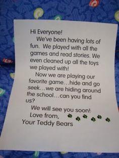 teddy bear sleepover note home - Google Search