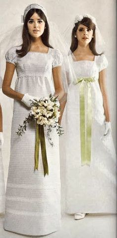 1967 Colleen & Molly Corby in Simplicity Patterns - my sister's wedding dress was a little like these. She bought it off the rack in a regular clothing store.