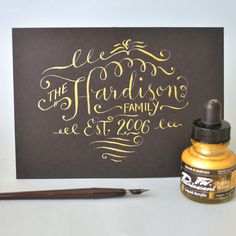 how to create fake calligraphy. FYI, that for envelopes this is actually a lot harder if you need a metallic, because you cannot find opaque silver ink pens with a tip less than 0.4mm which is not really thin enough to get a really proper result at smaller sizes.
