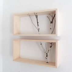 White birch forest wall art/shelf -set of birch branch, framed birch art, floating shelves, display shelves, shadow box - Wohnen - Shelves in Bedroom White Birch Trees, Birch Forest, Birch Branches, Forest Art, Display Shelves, Wall Shelves, Shadow Box Shelves, Library Shelves, Diy Wood Projects