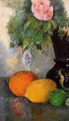 Flowers and Fruit, 1880 by Paul Cézanne, Mature period. Post-Impressionism. still life. Musée de l'Orangerie, Paris, France