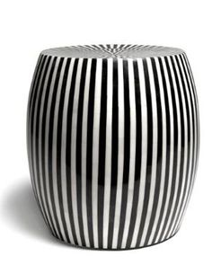 B&W Striped Side Table - Black Rooster Decor Black White Stripes, Black And White, Ceramic Stool, Black Rooster, Rooster Decor, Striped Table, Garden Seating, House And Home Magazine, Table Furniture