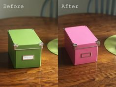 How to Spray Paint IKEA Boxes - brush white glue on the metal parts of the lid, let dry, spray paint, peel off the glue. < Bloody genius!