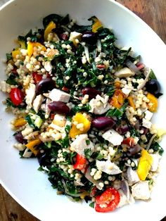 This salad is extremely pretty and colorful; I used rainbow Swiss chard for even more visual punch. You can definitely use other seasonal vegetables here.
