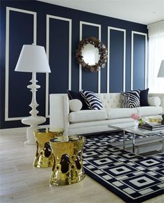 Simple yet bold. Crisp navy and white colour palette, with just the right amount of bling! Greg Natale