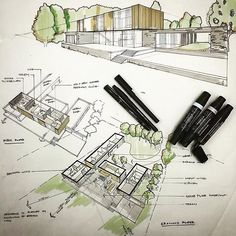 Illustrations for a client presentation by Magnus Strom Architects - Christina Georgiou - Architecture Board, Concept Architecture, Architecture Drawings, Landscape Architecture, Landscape Design, Architecture Design, Architect Drawing, Portfolio Architect, Commercial Architecture