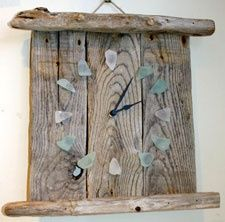 sea glass and wooden clock