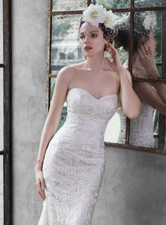 Maggie Sottero - FREDRICKA, The epitome of bridal bliss is found in this tulle A-line wedding dress; adorned with lace and a stunning scalloped lace hem. Finished with sweetheart neckline and covered buttons over zipper and inner corset closure. Wedding Dresses Photos, Used Wedding Dresses, Wedding Dress Styles, Designer Wedding Dresses, Bridal Dresses, Wedding Gowns, Wedding Gown Gallery, A Line Bridal Gowns, Maggie Sottero Wedding Dresses