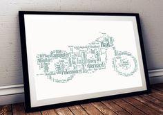 Motorbike personalised art print motorbikes by pienosudesigns