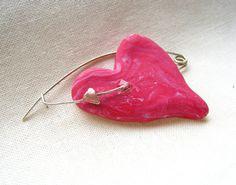 Fuchsia heart brooch pin  mother's day gift  by PikipokaJewelry