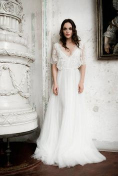 Short Sleeve Boho Wedding Dresses Ivory Lace & Chiffon Rustic Wedding Gown Ivory Chiffon Beach Wedding Dresses with Sleeves V Neck Backless Wedding Dress – SheerGirl Rustic Wedding Gowns, Lace Wedding Dress, Wedding Dresses 2014, Gorgeous Wedding Dress, Tulle Wedding, Bridal Dresses, Backless Wedding, Mermaid Wedding, Ivory Wedding