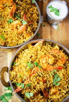 Rice Cooker Shrimp (Prawn) Biryani Looking for a no-fuss almost one-pot meal? This shrimp biryani is started in the stove but finished in a rice cooker. Perfect rice and flavors each time! Rice Cooker Recipes, Rice Recipes, Seafood Recipes, Indian Food Recipes, Asian Recipes, Cooking Recipes, Healthy Recipes, Ethnic Recipes, Indian Shrimp Recipes