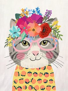 A statement in any room. These matte, museum-quality posters are printed on durable, archival paper. # Cats cute Cute grey Cat with glasses and Floral Crown Art Print – Funny Decoration Gift – Cute Room Decor – Poster by Mia Charro Art And Illustration, Floral Illustrations, Crown Art, Crown Decor, Cute Room Decor, Wall Decor, Grey Cats, White Cats, Cat Drawing