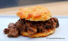Gourmet Girl Cooks: Chopped Beef Biscuit Sandwiches w/ Pepper Jack Gravy