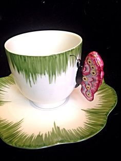 Limoges Siecle Paris Handpainted Butterfly Handle Tea Cup Demitasse And Saucer